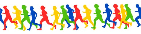 Silhouettes of athletes running