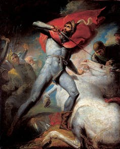 painting of a medieval man in battle.