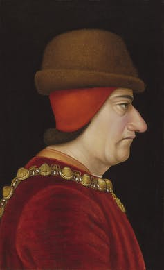 Profile portrait of medieval french king.