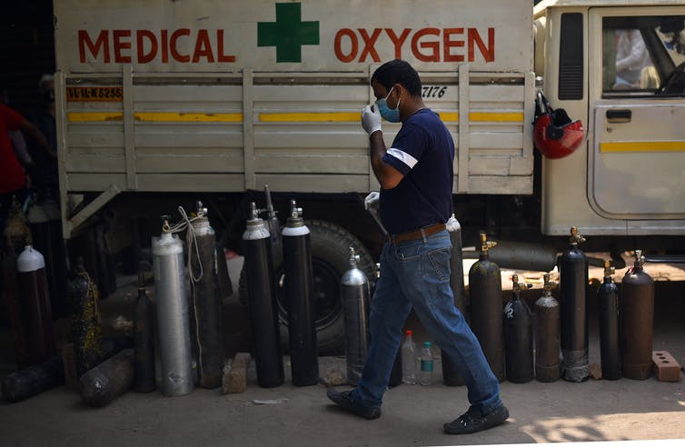 Oxygen cylinders waiting to be filled in New Delhi