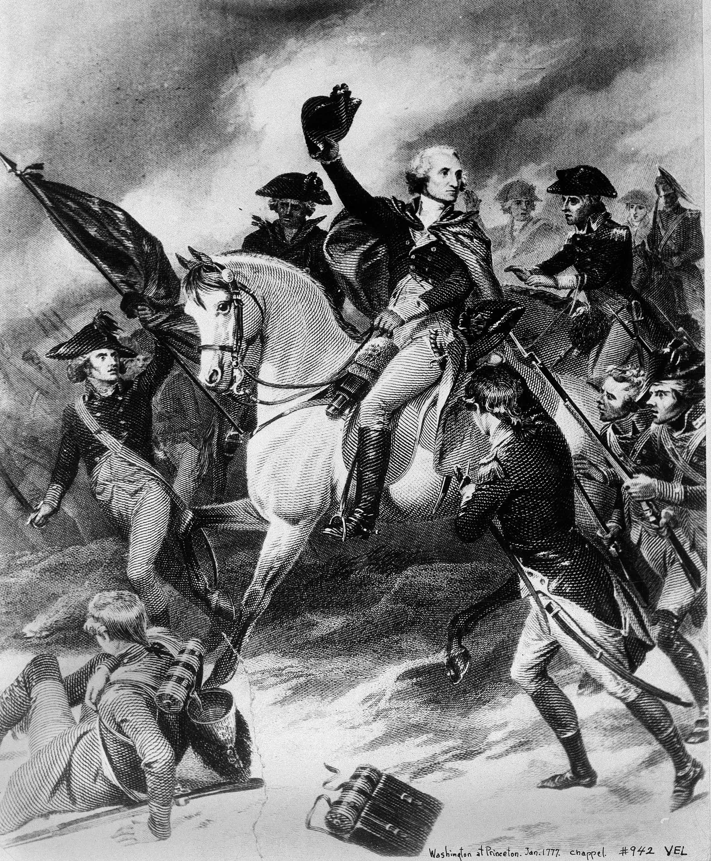 An illustration of Gen. George Washington on a horse holding his hat as he leads his men in a battle in 1777