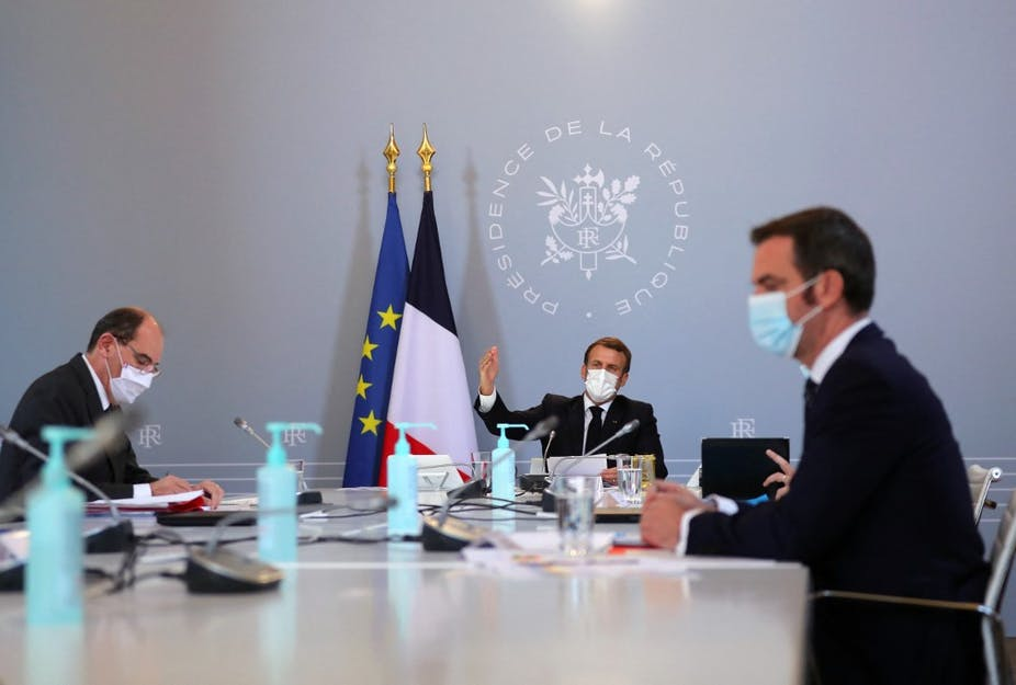 Jean Castex, Emmanuel Macron et Olivier Véran en réunion.