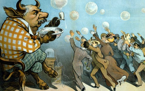 "An American financier shown as a bull blowing bubbles with the writing ""inflated values"" on them as a crowd of people in formal clothes reach for them"