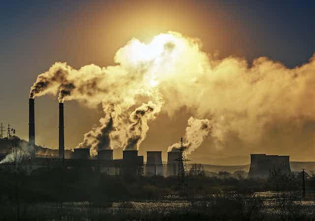 Industrial stacks emitting smoke