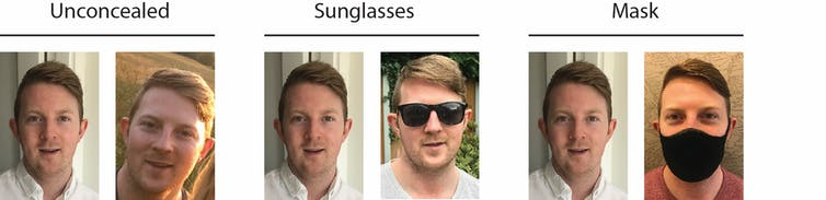 Three pairs of faces: one unconcealed, one with sunglesses on, and one with a mask on