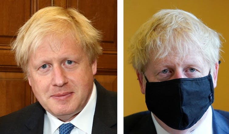 Two photos of Prime Minister Boris Johnson, one without a mask, one with a mask