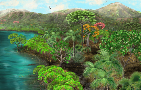 Artist's illustration of mangroves and flowering trees beside water, with mountains behind
