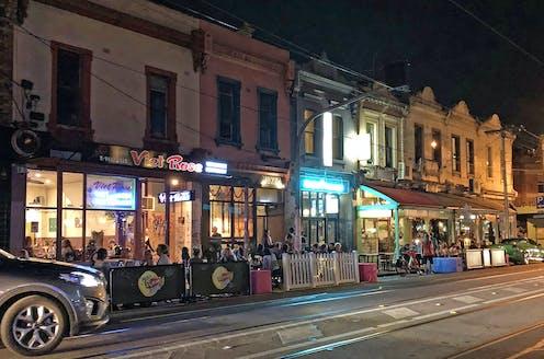 streetside dining at night in Brunswick Street, Fitzroy