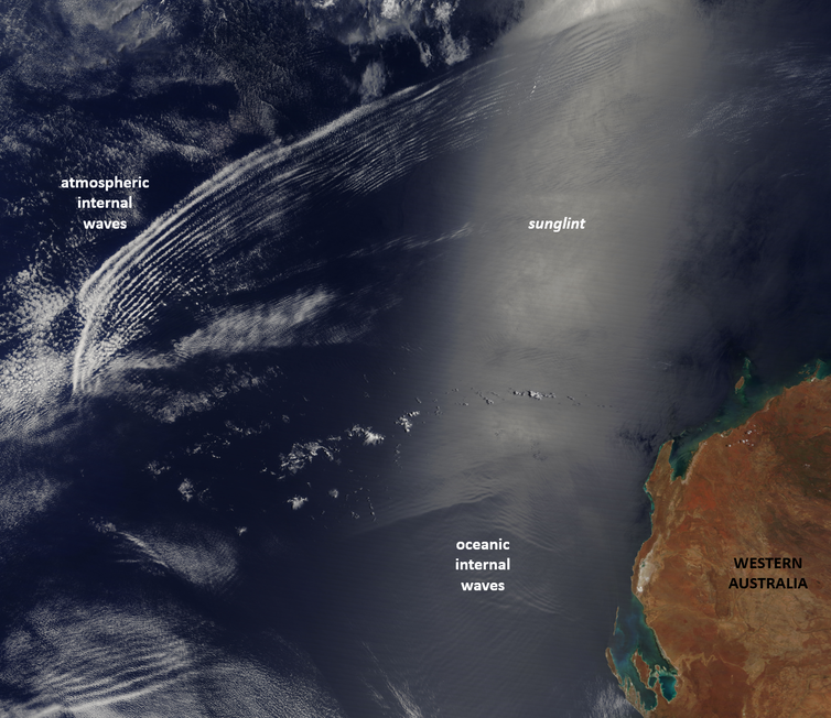 Satellite image showing atmospheric and oceanic waves