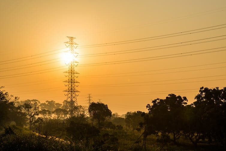 Electricity lines at sunset