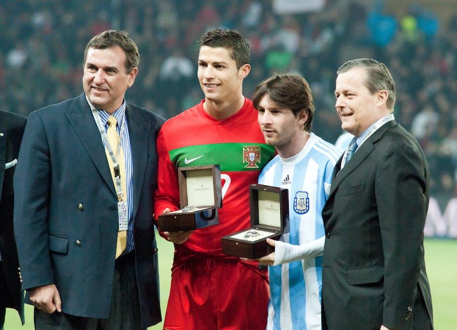 Cristiano Ronaldo et Lionel Messi avant un match entre le Portugal et l'Argentine en 2011