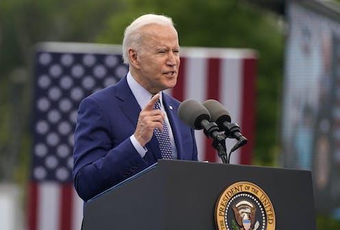 President Joe Biden at a podium