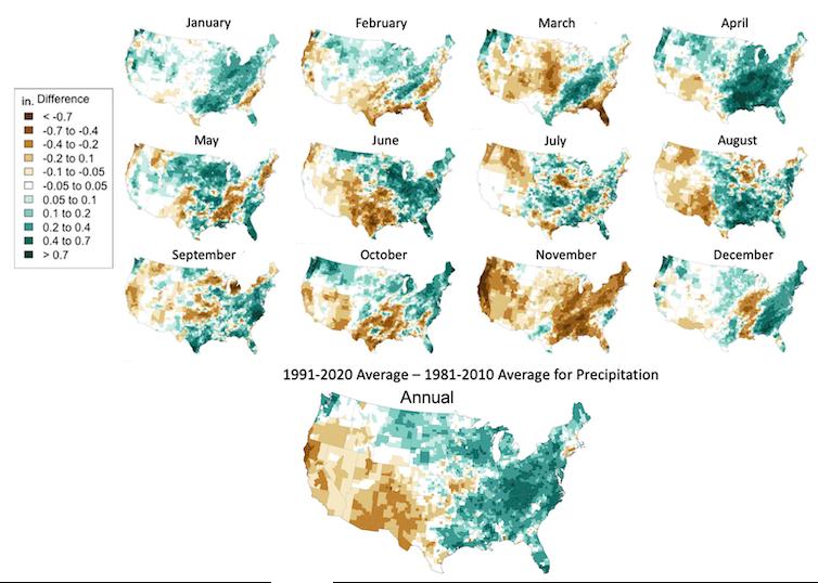 La plupart des États du centre et de l'est des États-Unis étaient plus humides en 1991-2020 qu'en 1981-2010, tandis que la plupart des États occidentaux étaient plus secs.