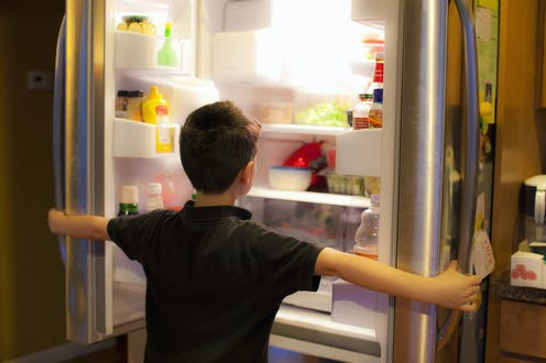 A child standing in front of a refrigerator with both doors open