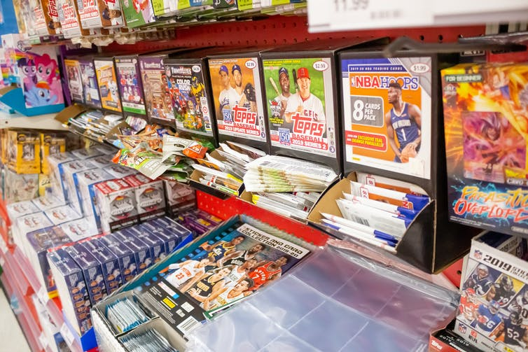 Sports trading cards for sale in a department store in California.
