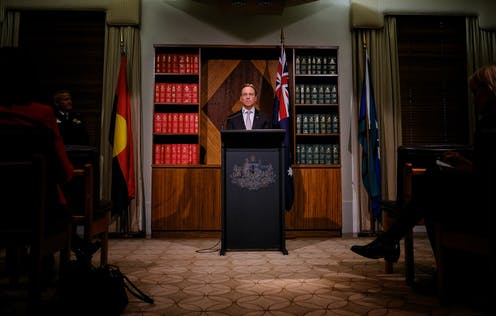 Health Minister Greg Hunt surrounded by the national flags at press conference.