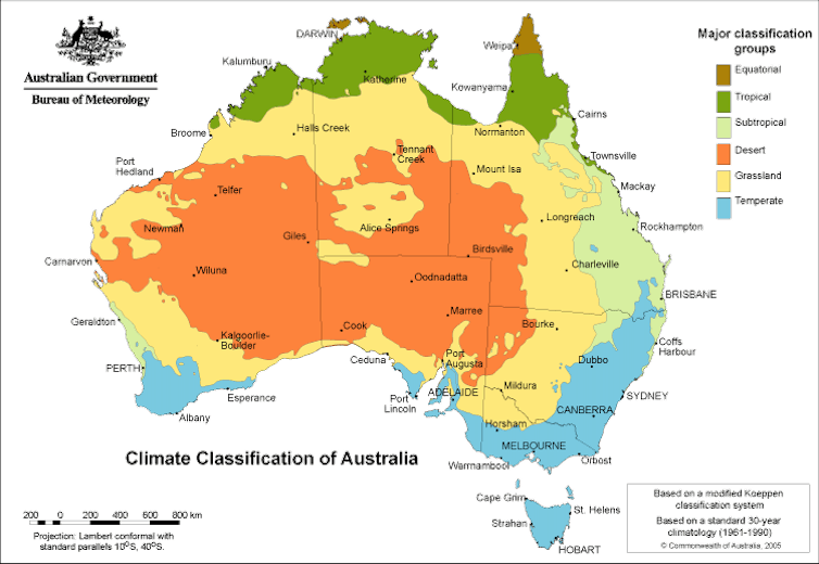 Australian climate zone map