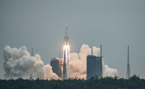 The Long March 5B rocket blasts off
