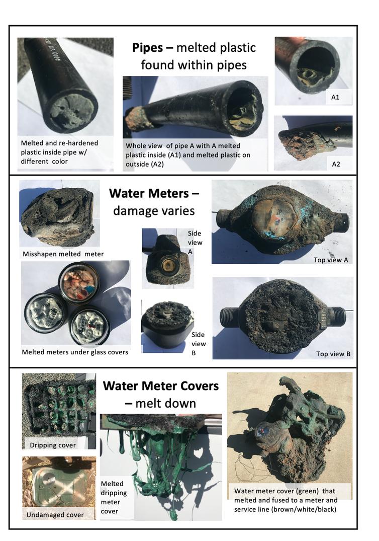 Photos montrant des exemples de dommages causés par le feu aux réseaux d'eau