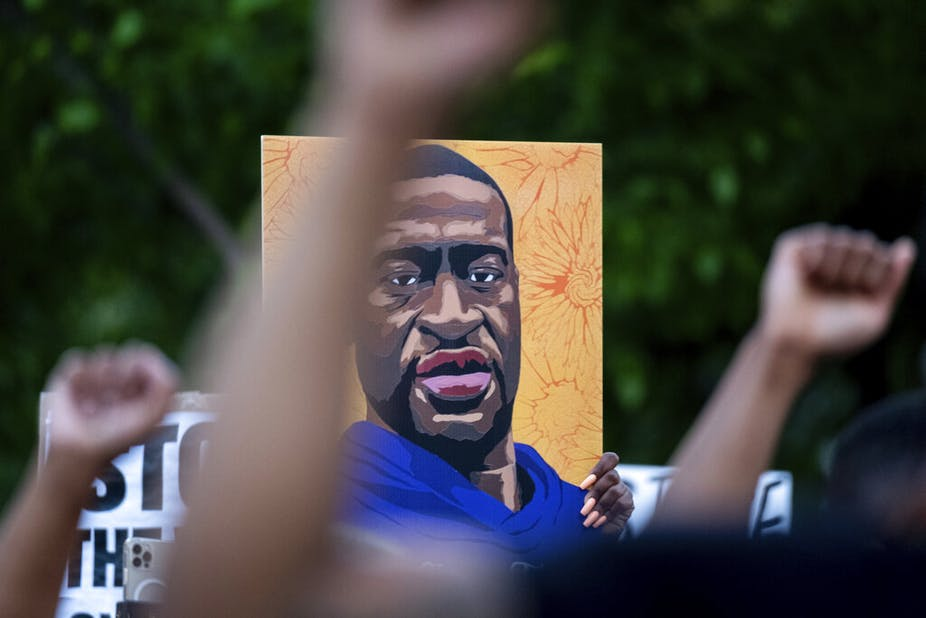 People march through the streets of Atlanta after Derek Chauvin was found guilty of three counts in the death of George Floyd, Tuesday, April 20, 2021. (AP Photo/Ben Gray)