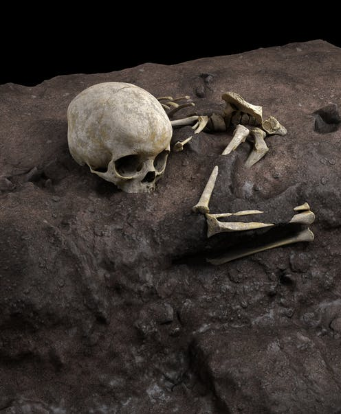 Image based on a virtual ideal reconstruction of Mtoto's position in the burial pit.