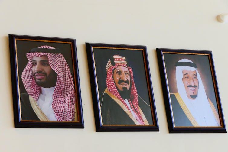 Portraits of three members of the Saudi Arabian royal family, the House of Saud.