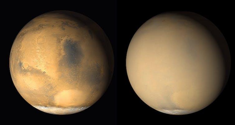 Deux photos de Mars. A gauche sa surface est visible, à droite elle est obscurcie par la poussière.