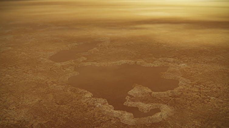 Vue d'artiste de la surface de Titan, recouverte d'un lac de méthane.