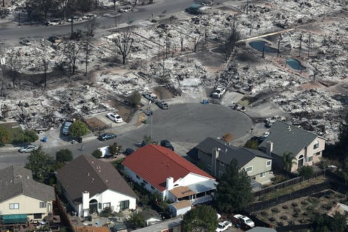 Five mostly untouched houses in a neighborhood burned to the ground