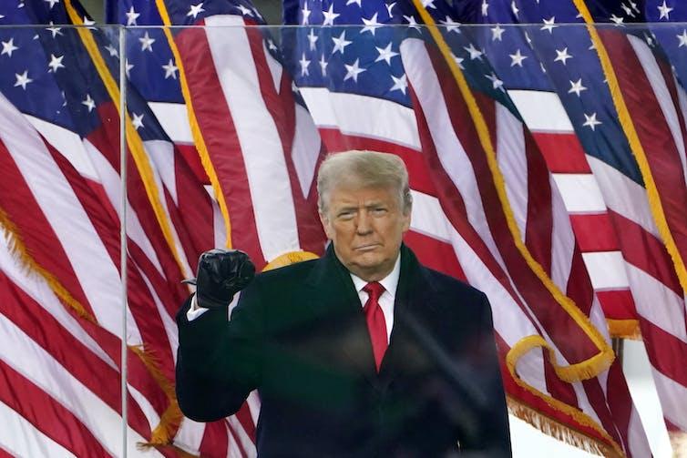 o ex-presidente Donald Trump levanta o braço direito enquanto sua mão fecha o punho durante um discurso, com uma fileira de bandeiras dos EUA atrás dele