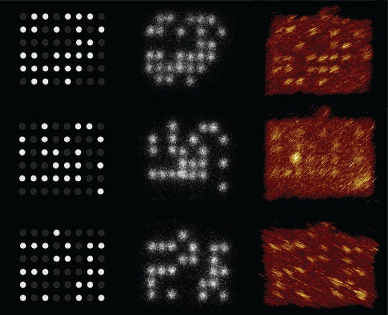 Three columns and three rows of dots against a dark background