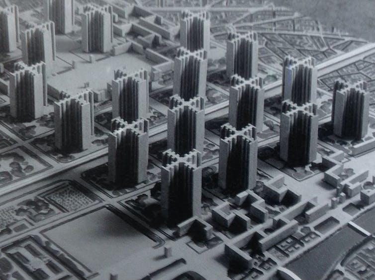 Maqueta del Plan Voisin de París de Le Corbusier expuesta en el Pabellón Nouveau Esprit en 1925