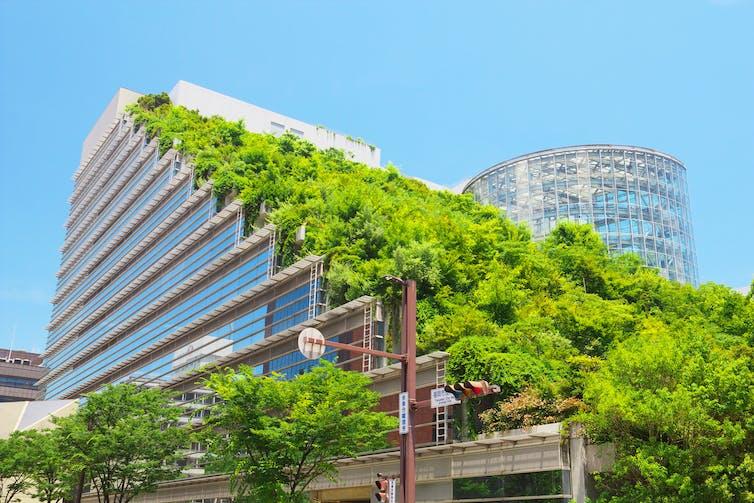 La vegetaci?n cubre el exterior de un edificio en una ciudad japonesa.