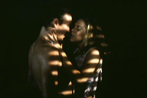 William Hurt and Katheen Turner in an intimate scene from the film Body Heat, 1981