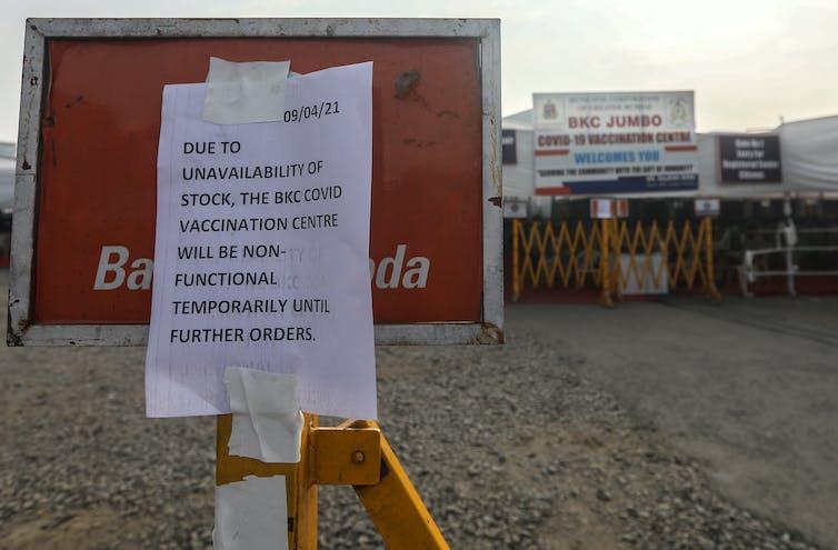 A closed vaccination centre in Mumbai
