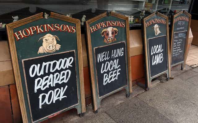 Butchers signs: local lamb, local beef, outdoor pork