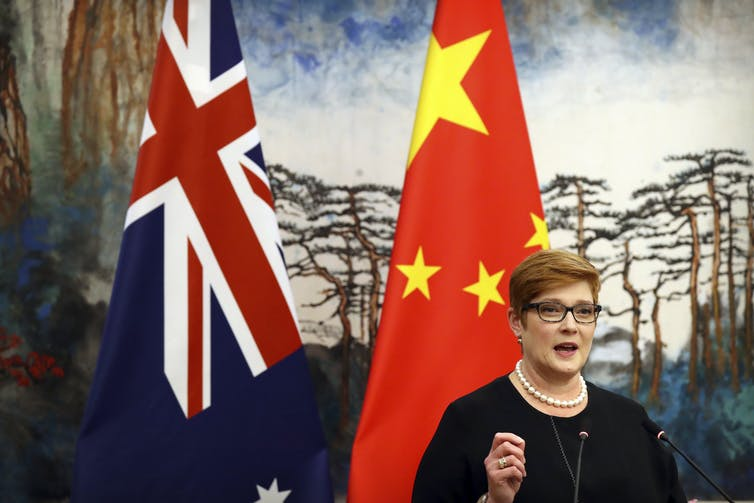 Australian foreign minister Marise Payne in happier times, at a joint press conference with her Chinese counterpart in November 2018.