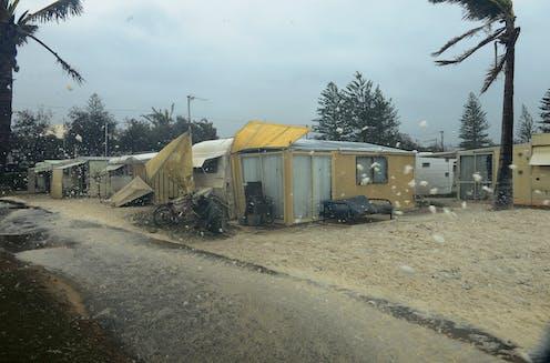 storm hits caravan park