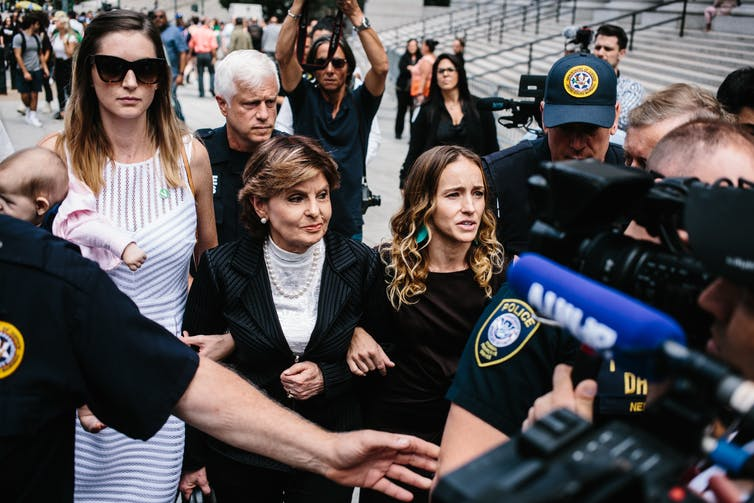 Victims of Jeffrey Epstein, who was found dead in his cell on August 10 2019, attend court on August 27 2019 to testify in favour of his trial for sex trafficking continuing.