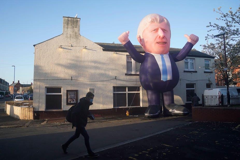 A giant inflatable Boris Johnson outside a house in Hartlepool.
