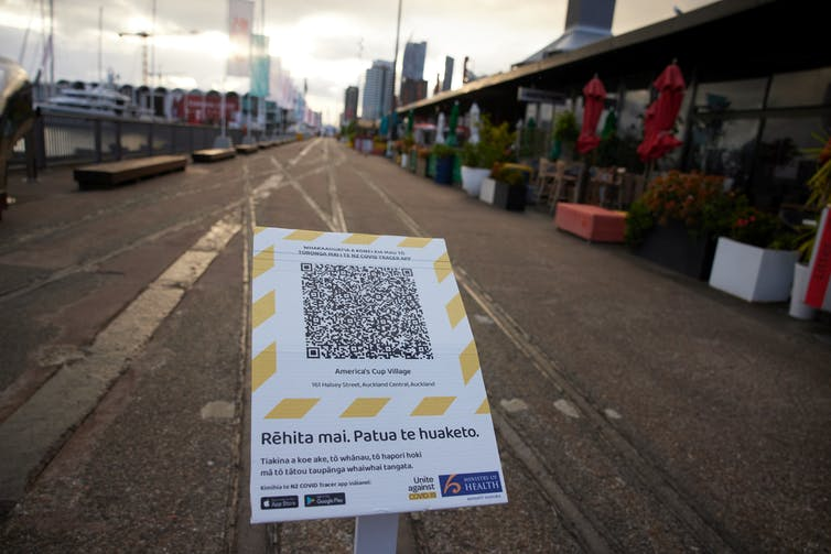 QR code for New Zealand's COVID-10 tracing app.