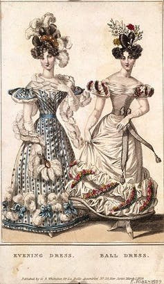 Two women in ballgowns.