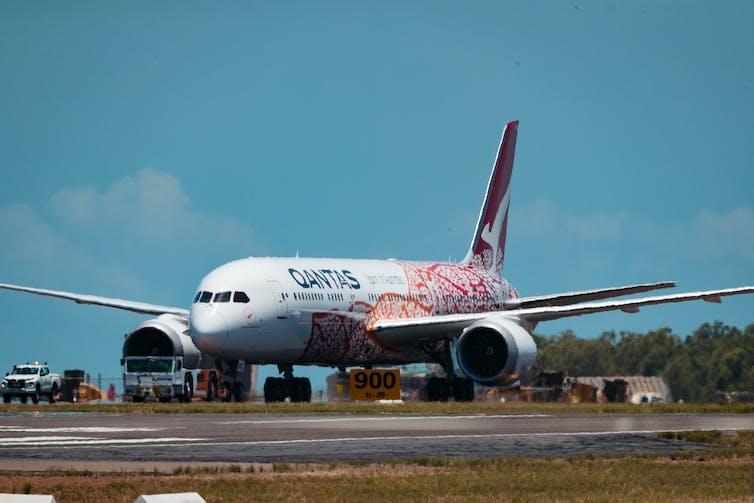 Qantas plane landing in Darwin in October 2020.