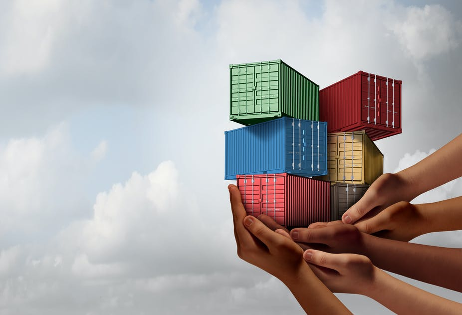 Illustration of five hands holding a pile of miniature shipping containers