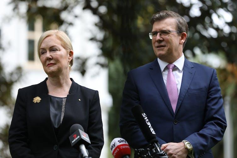 Lisa Paul and Education Minister Alan Tudge.