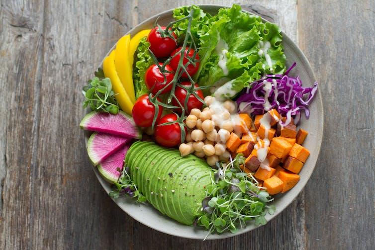 Salad arranged by colour