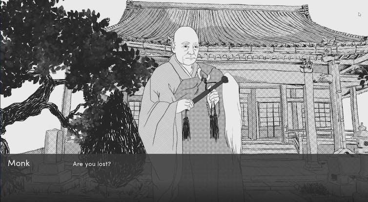 Video artwork of monk