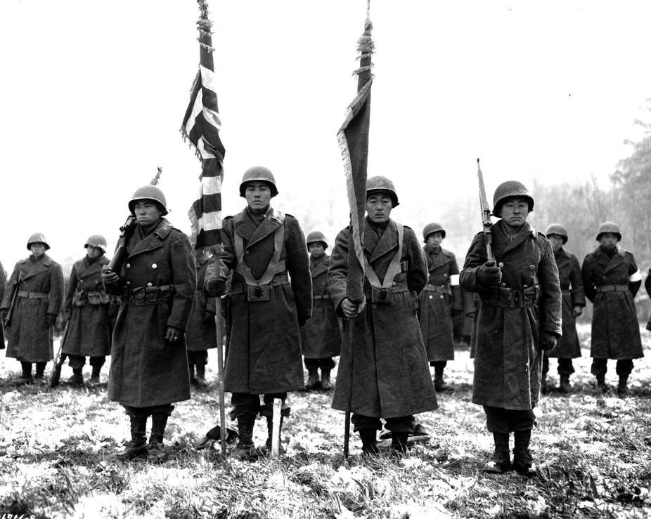 Soldiers stand in formation