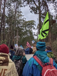Protesters in a forest