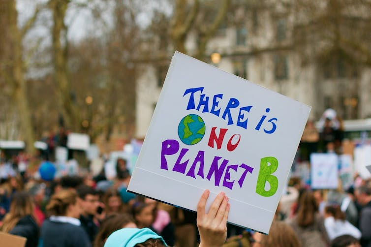 A climate demonstrator holds a placard that reads 'There is no Planet B'